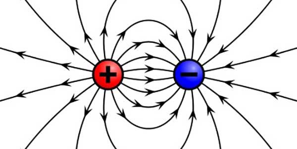 أن خطوط المجال الكهربائي تكون خارجة من الشحنة الموجبة وداخلة في الشحنة السالبة وهذا هو بالضبط المسار الذي سوف تسلكه شحنة اختبار موجبة إذا تم وضعها في حيز المجال الكهربائي